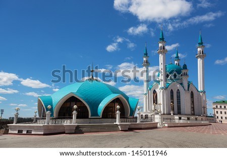 Qol Sharif mosque in Kazan, Russia on the blue sky