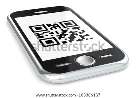 QR. Black smartphone with a sample QR Code.
