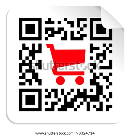 QR code label sign with red shopping cart icon.