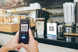 Qr code payment, E wallet , cashless technology concept illustration. Man scanning  tag in Coffee shop accepted generate digital pay without money.
