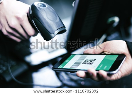 Qr code payment , online shopping , cashless technology concept #1110702392