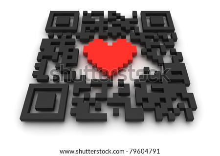 QR-code with heart - stock photo