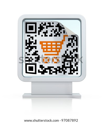 QR code with shopping cart on the billboard