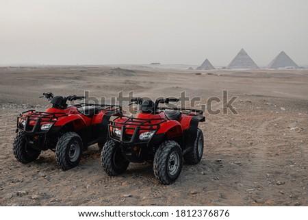 quad bike pyramids Giza Egypt Stock photo ©