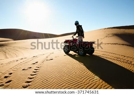 Quad Biking Silhouette - Merzouga - Morocco Stock photo ©