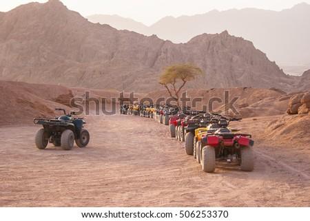Quad motorbike safari in Sinai desert, Sharm el Sheikh, Egypt #506253370