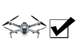 Quadcopter Drone with Action Camera Isolated on White Background. Bottom View of Aerial Quad Copter with Digital Camera. Flying Remote Control Air Drone
