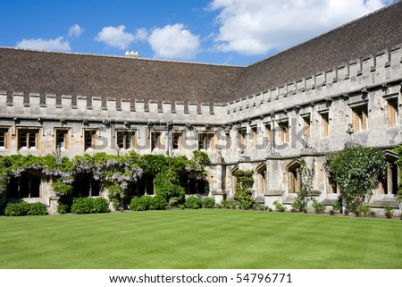 Quadrangle with cloisters at Magdalen College, Oxford