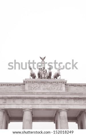Quadriga Sculpture by Gottfried, Brandenburger Gate, Berlin, Germany in Black and White Sepia Tone