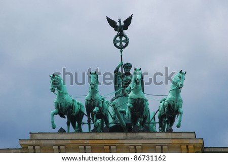 Quadriga sculpture on top of the famous  Brandenburger Tor, Berlin, Germany