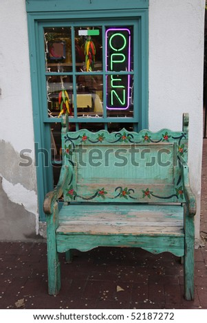 Quaint bench in Old Town in Albuquerque, New Mexico