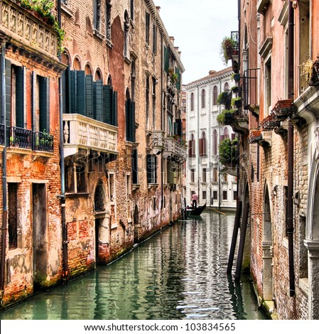 Quaint canal in historic Venice (with HDR processing)