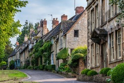 Quaint Cotswold romantic stone cottages on The Hill,  in the lovely Burford village, Cotswolds, Oxfordshire, England