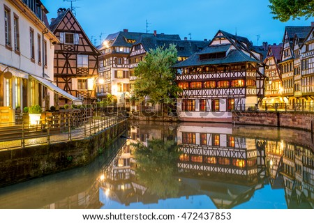 Quaint timbered houses of Petite France in Strasbourg, France. Franch traditional houses at Strasbourg, France. #472437853