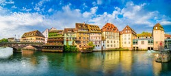 Quaint timbered houses of Petite France in Strasbourg, France. French traditional houses at Strasbourg, France