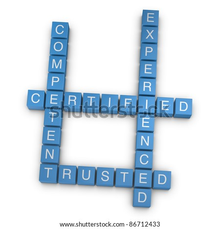 Qualities crossword on white background, 3D rendered illustration