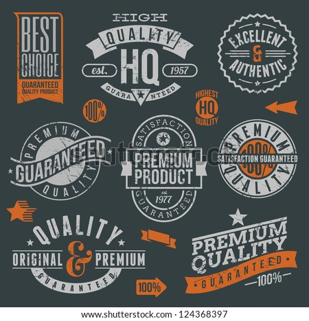 Quality and guaranteed - signs, emblems and labels
