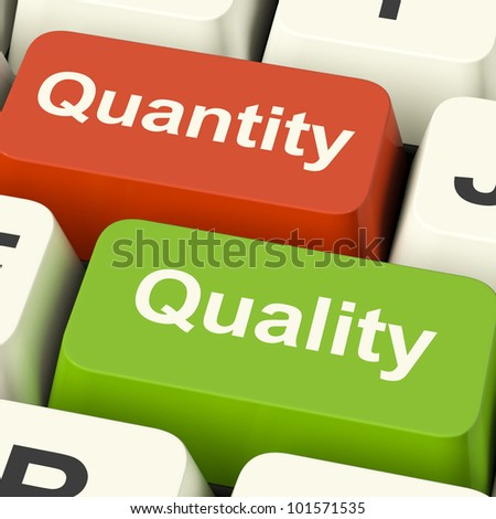 Quality And Quantity Computer Keys Showing Choice Between Excellence Or Numbers