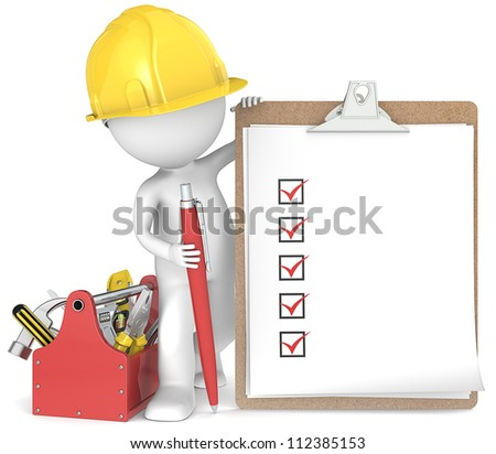 Quality. 3D little human character the Builder holding a clipboard and pen. People series.