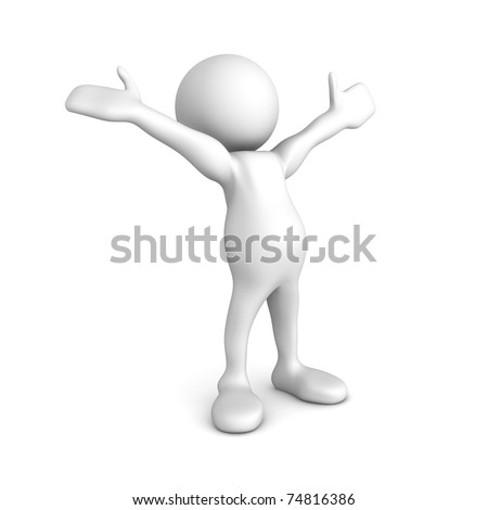 Quality 3D render of a little person, arms wide open, expressing joy and happiness