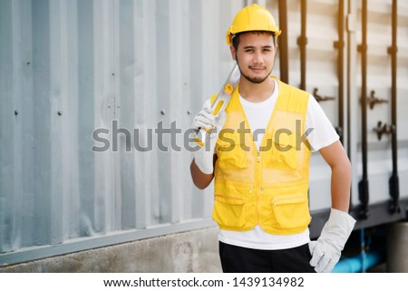 Quality engineers or construction teamwork. Safety concern for engineering or building work site or plant. Wearing helmet and protective equipment can safe workers life in industrial work or plant.