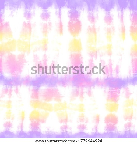 Quality genuine tie dye repeat pattern in summer pastel shades of yellow, peach, pink, and purple. Seamless repeating pattern.