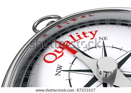 quality indicated by concept compass on white background