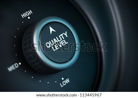 quality level button with low, medium and high positions, button is positioned in the highest position, black and blue background, blur effect