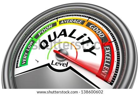 quality level meter indicate maximum, isolated on white background