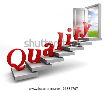 quality red word up stairs to door with view to field and sky on white background