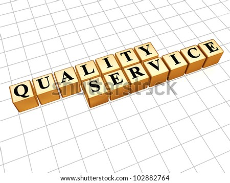 Quality service black text and golden boxes over white