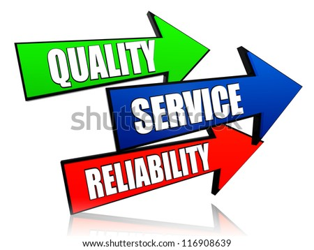 quality, service, reliability - words in 3d colorful arrows with text