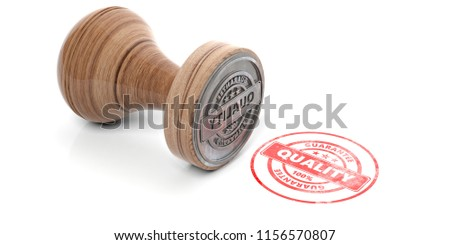 QUALITY stamp. Wooden round rubber stamper and stamp with text quality isolated on white background. 3d illustration