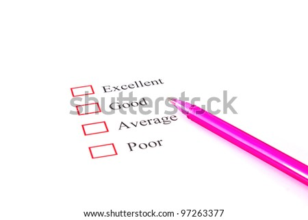 quality survey form with pen showing marketing concept