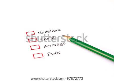 quality survey form with pencil showing marketing concept