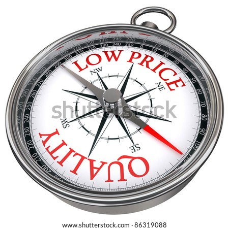 quality versus low price concept compass isolated on white background