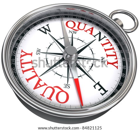 quality versus quantity conceptual image with compass two different ways isolated on white background