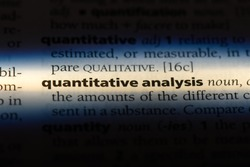 quantitative analysis word in a dictionary. quantitative analysis concept.