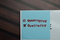 Quantitative and Qualitative write on sticky notes and supported by additional services write on a sticky notes isolated on Wooden Table.