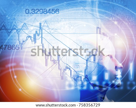 Quantitative stock and forex trading concept with artificial intelligence and machine learning #758356729