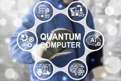 Quantum Computer Industry 4 Concept Integrated. Worker touched quantum computer text icon on virtual industrial screen on background of network SERVER BIG DATA, AI, Cloud, VR 3D PRINT, Robotic IT icon
