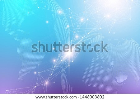 Quantum computer technology concept. Deep learning artificial intelligence. Big data algorithms visualization for business, science, technology. Waves flow, illustration