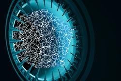 Quantum computing glowing blue plasma. Quantum computer hardware technology. Integrated communication processor. Information CPU engineering 3D render background