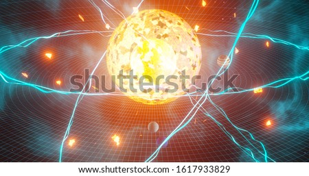 Quantum physics particles concept with atom core protons and neutrons and spinning electrons nuclear energy burst 3d rendering
