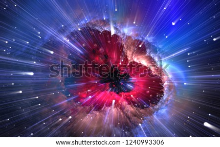 Quantum physics, time quantum travel. Nanocosmos, nanoworld. 3d illustration