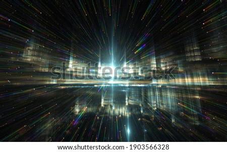 Quantum world, speed of light. Quantum mechanics, spectral shift. 3d illustration Stockfoto ©