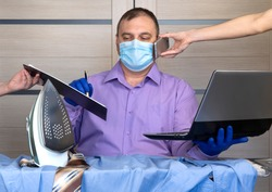quarantine coronavirus pandemic. business man working from home, wear a protective mask. antiviral medical respiratory bandage face. remote distance work due to the epidemic COVID-19. home office