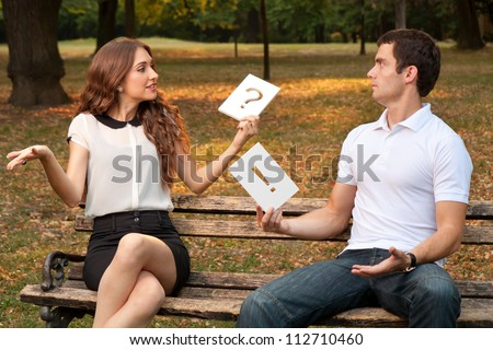 Quarrel between two young people in the park