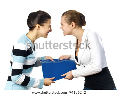 Quarrel of two business women. White background