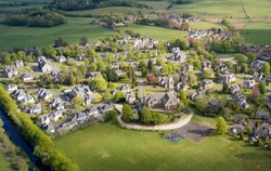 Quarriers Village countryside rural village aerial view from above in Renfrewshire Scotland